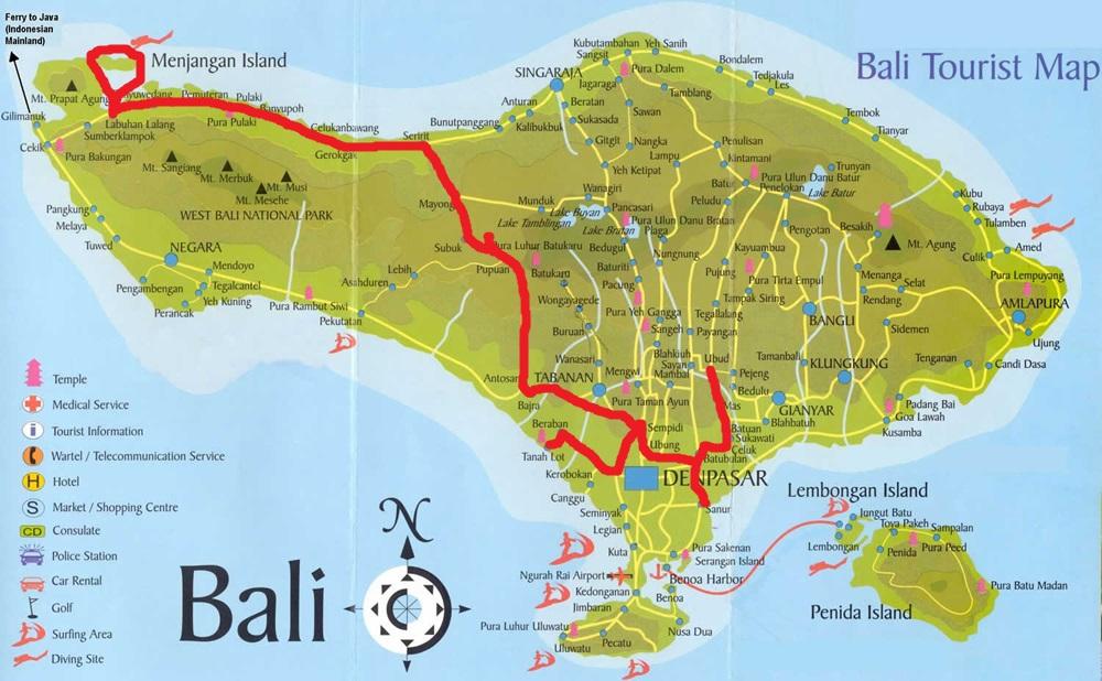 Menjangan tour map